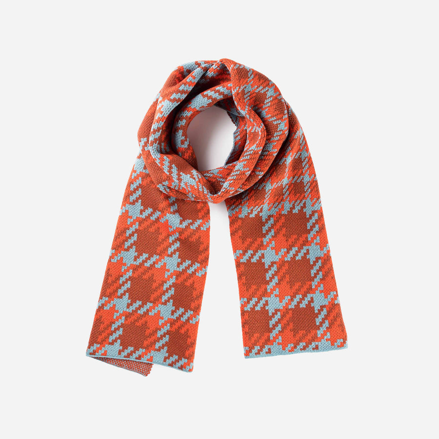 Rust | Houndstooth Scarf Graphic Jacquard Scarf