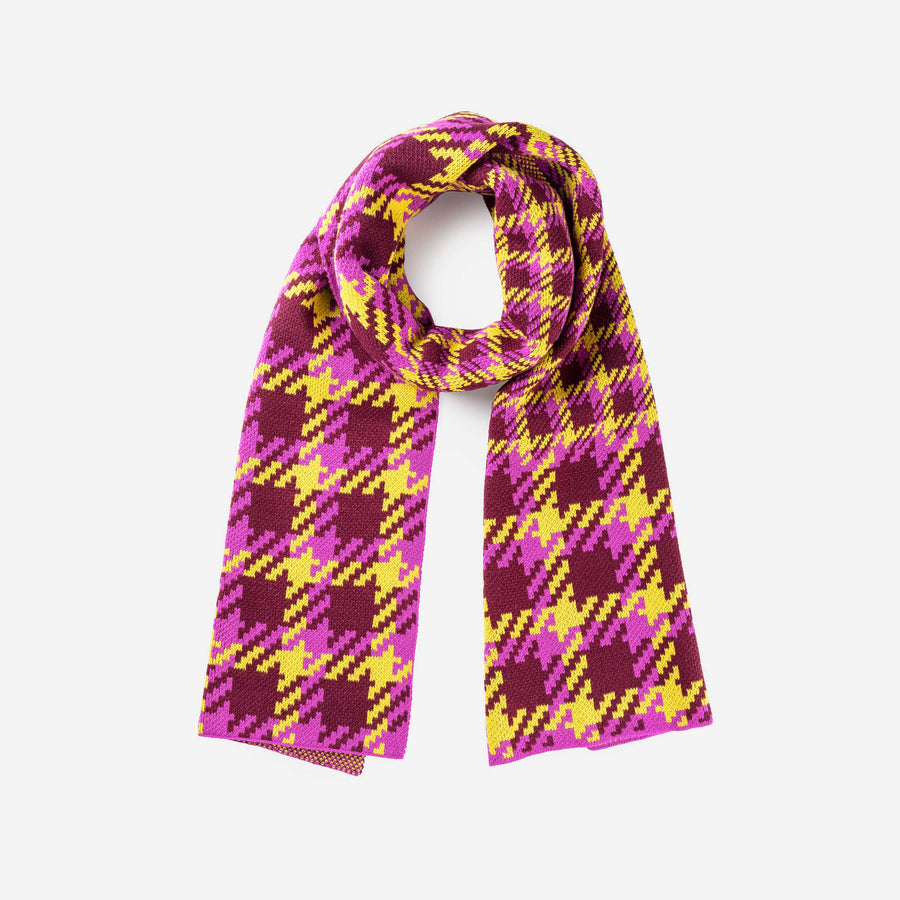 Wine Red | Houndstooth Scarf Graphic Jacquard Scarf