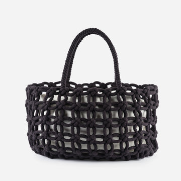 Black | Knotted Carryall Tote Large Repurposed Macrame Braided