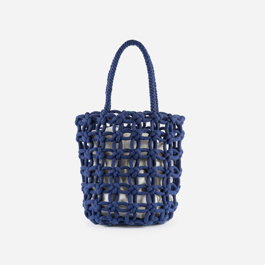 Navy | Knotted Shopper Tote Repurposed Macrame Braided