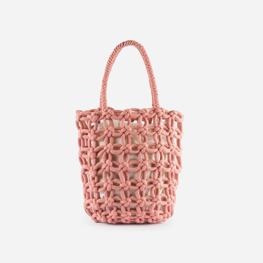 Pink | Knotted Shopper Tote Repurposed Macrame Braided