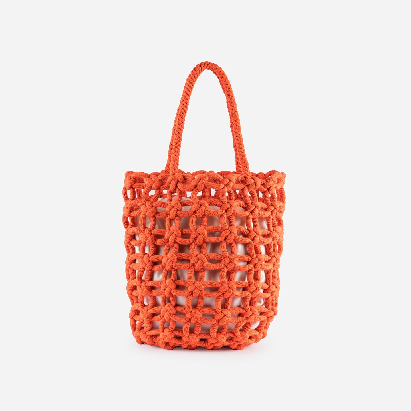 Knotted Shopper Tote Repurposed Macrame Braided