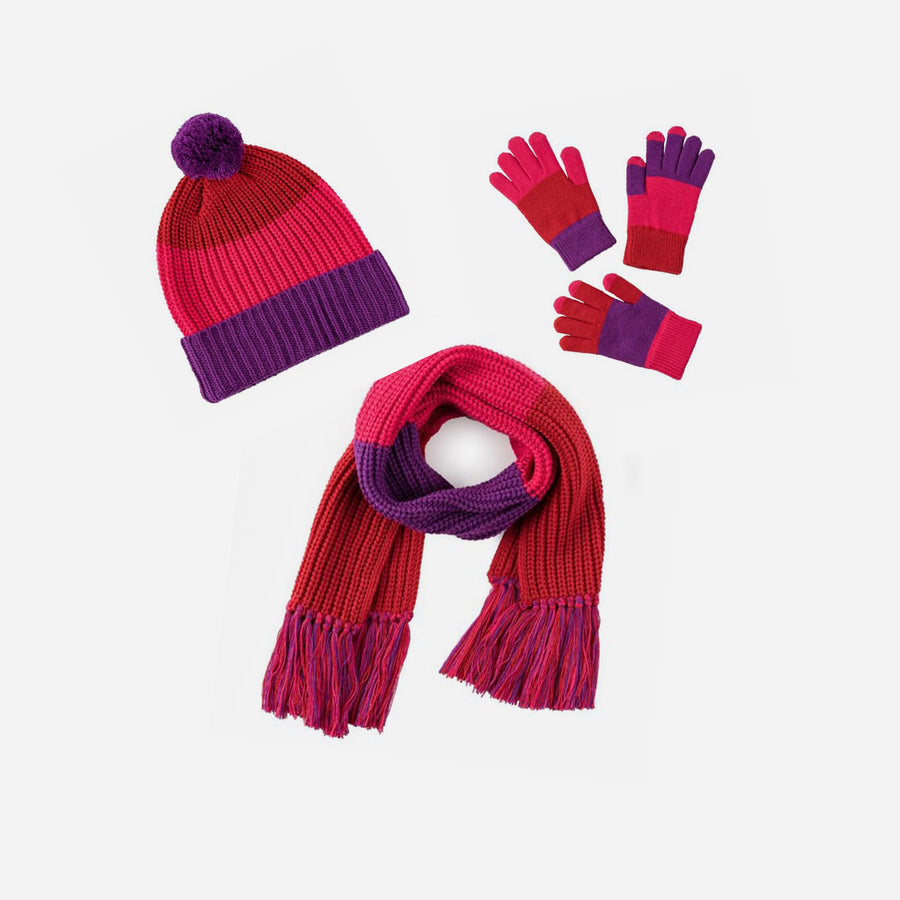 Red | Kids Fringe Set Colorblock