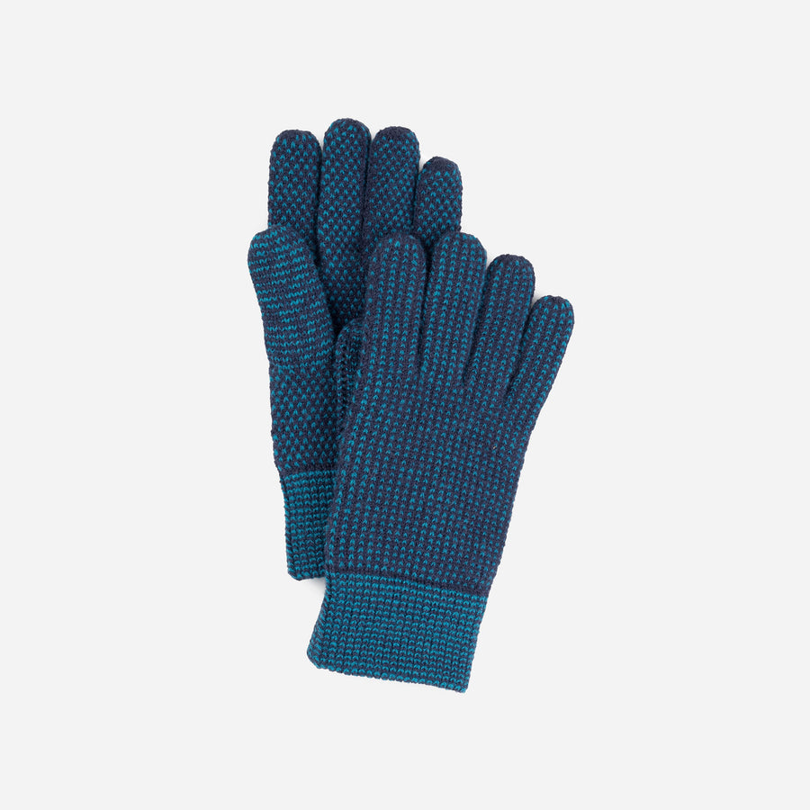 Navy Teal | Mixed Stitch Gloves Stretch Lined Gloves