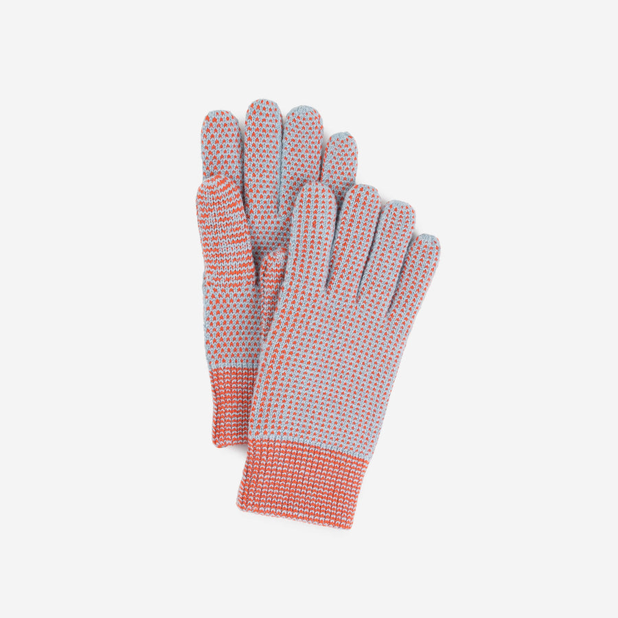 Poppy Stone Blue | Mixed Stitch Gloves Stretch Lined Gloves