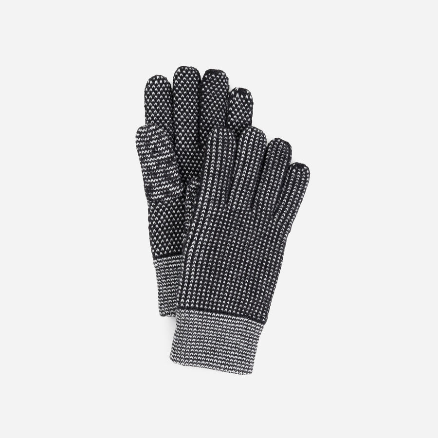 Black White | Mixed Stitch Gloves Stretch Lined Gloves