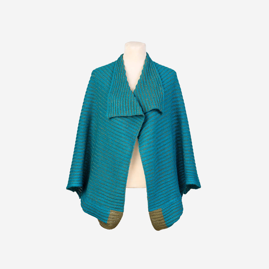 Teal | Nonna 2 Way Reversible Poncho Rib Wrap