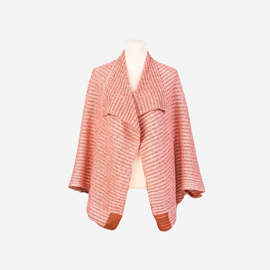 Pink Rust | Nonna 2 Way Reversible Poncho Rib Wrap