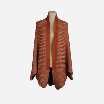 Rust | Nonna 2 Way Reversible Poncho Rib Wrap