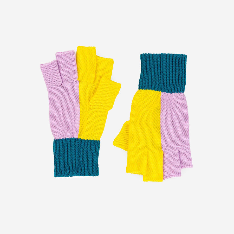 Lilac Yellow | Polder Colorblock Fingerless Gloves