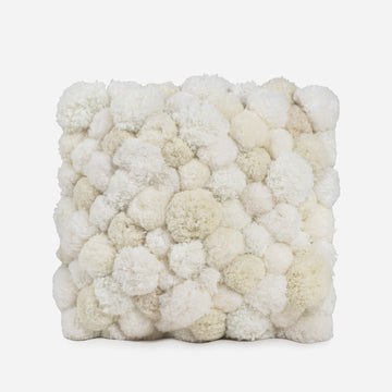 White / Full 18x18 | Pom Pillow Verloop All White Recycled Repurposed Pom Pillow