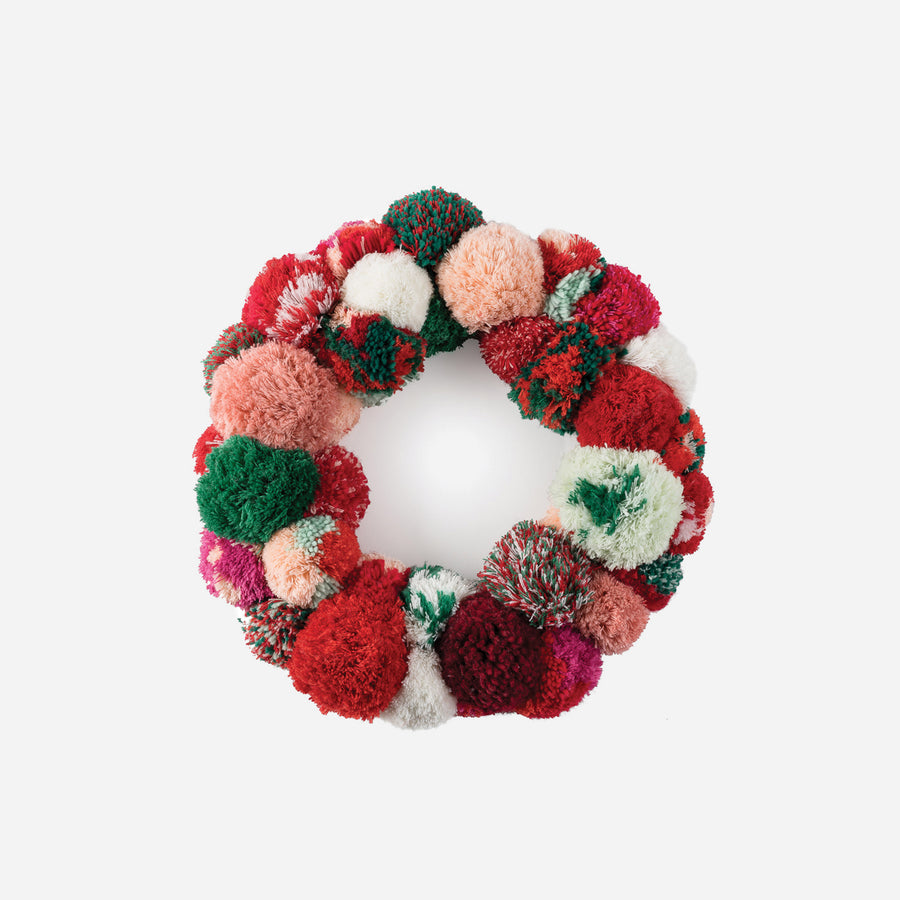 Red | Pom Wreath Repurposed Holiday