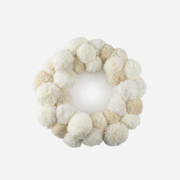 White | Pom Wreath Repurposed Upcycled