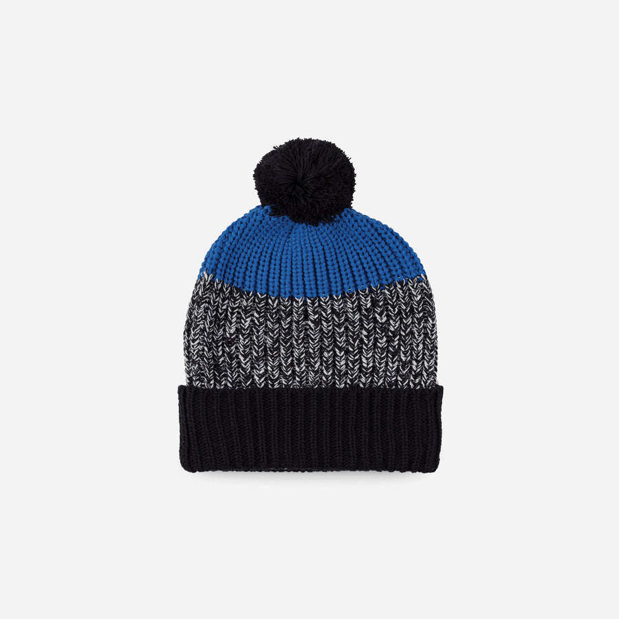 Black | Kids Pom Hat Knit