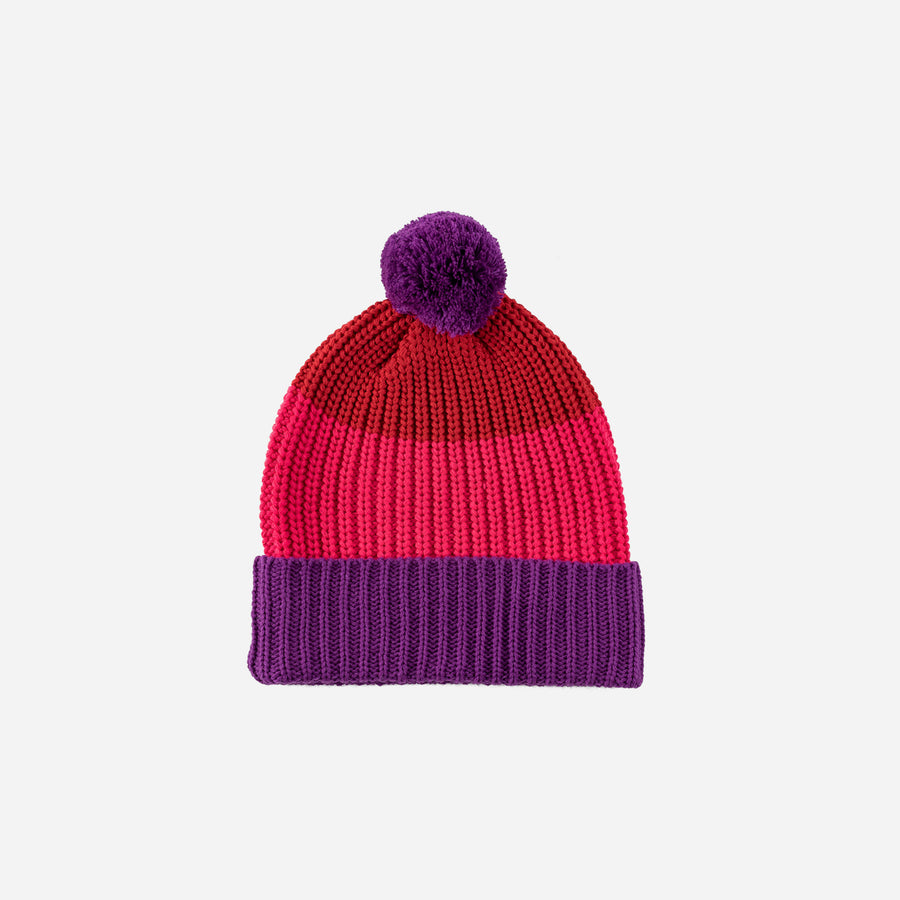 Red | Kids Pom Hat Knit