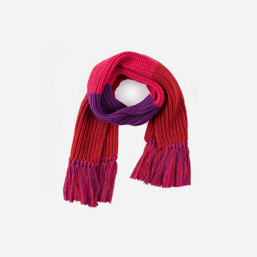 Red | Kids Fringe Scarf Colorblock