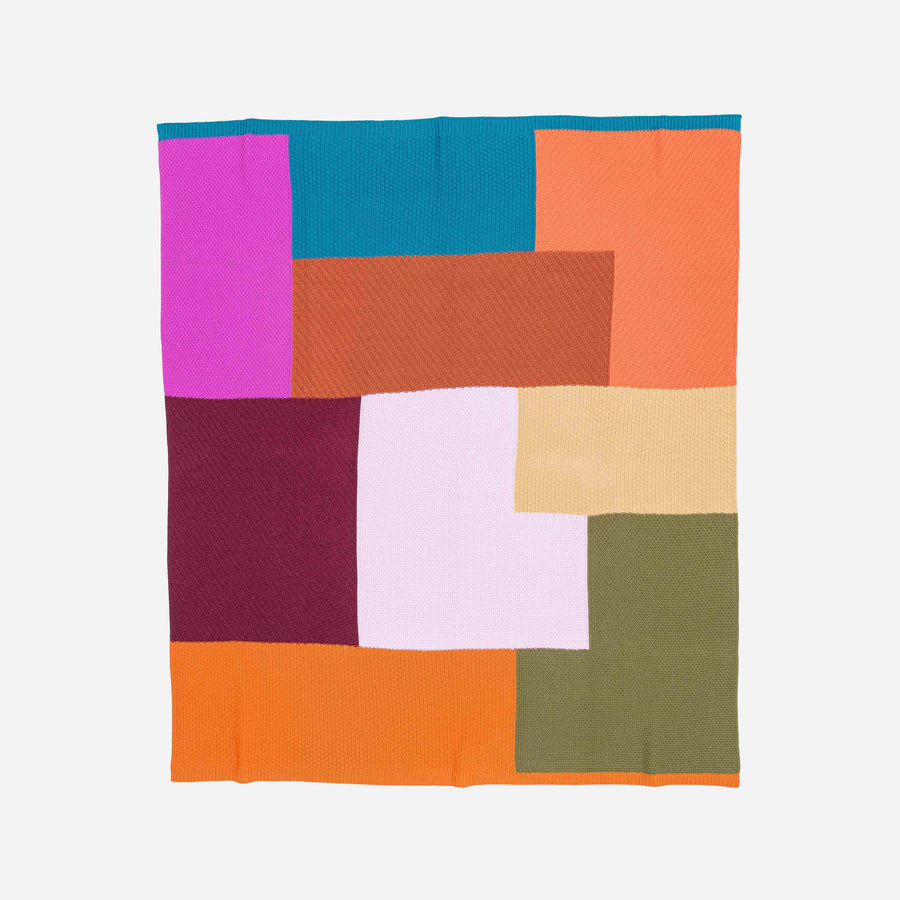 Wine Magenta | Patchwork Block Throw Repurposed
