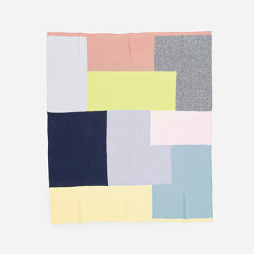 Grey Yellow | Patchwork Block Throw Repurposed