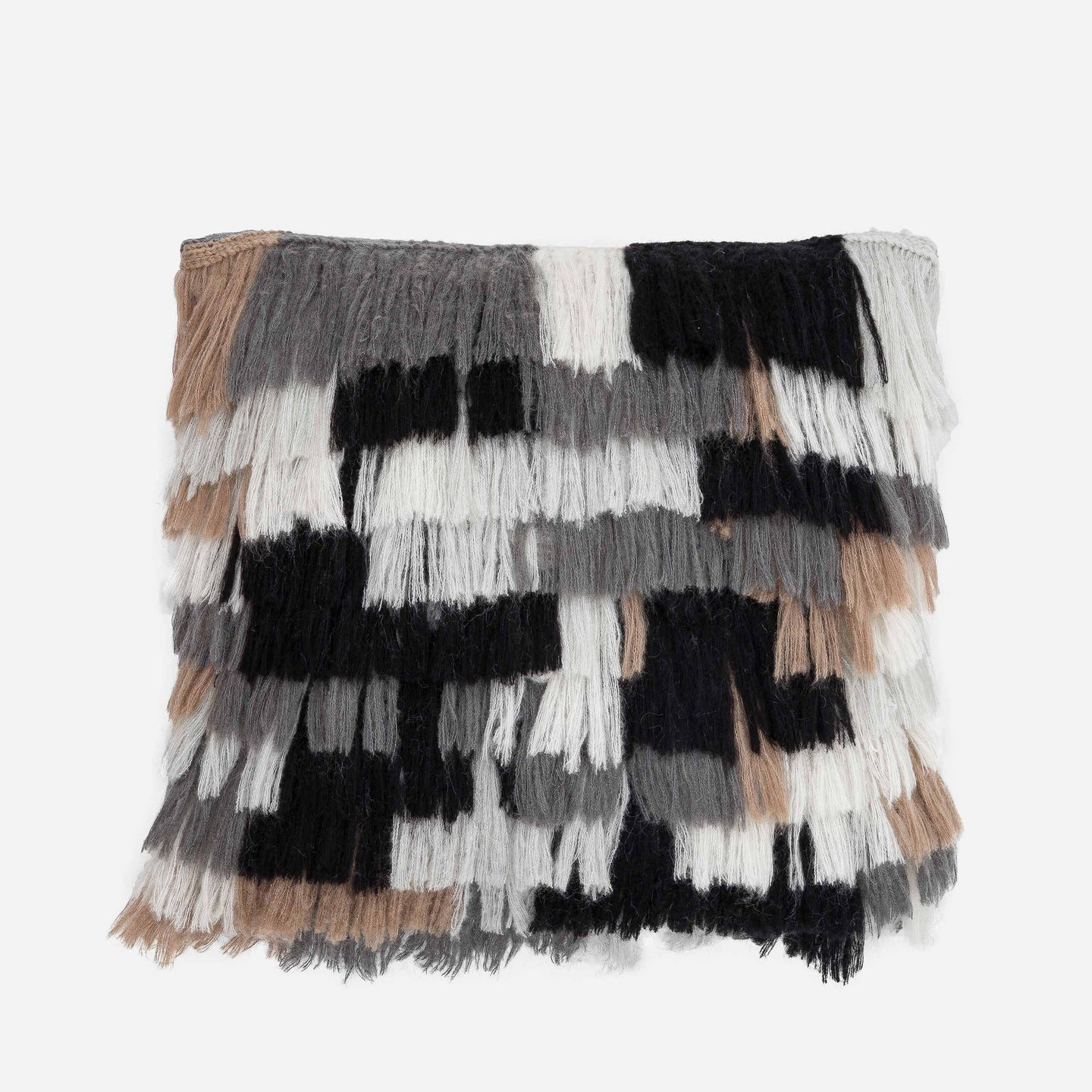 Patchwork Colorblock Fringe PIllow Repurposed Layered