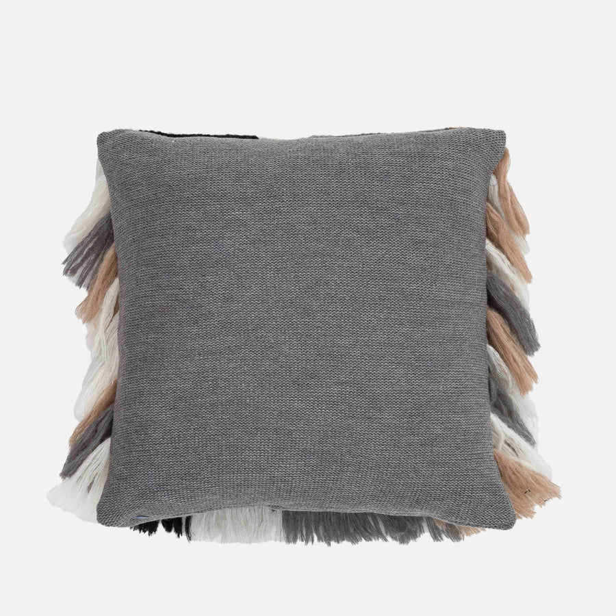 Black White Grey | Patchwork Colorblock Fringe PIllow Repurposed Layered