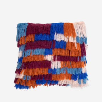 Wine Red Blue | Patchwork Colorblock Fringe PIllow Repurposed Layered