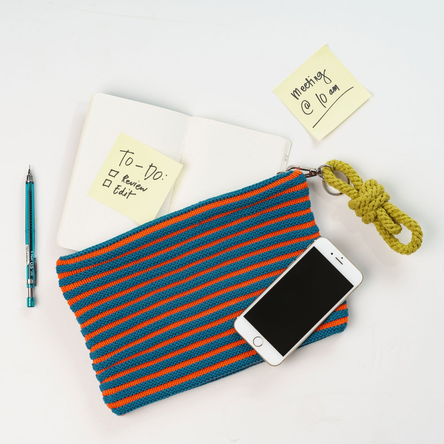 Rib Pouch Stripe Zip Set