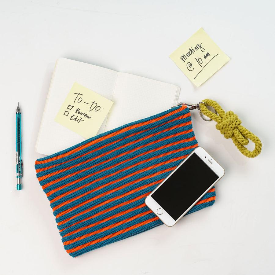 Teal Poppy | Rib Pouch Stripe Zip Set