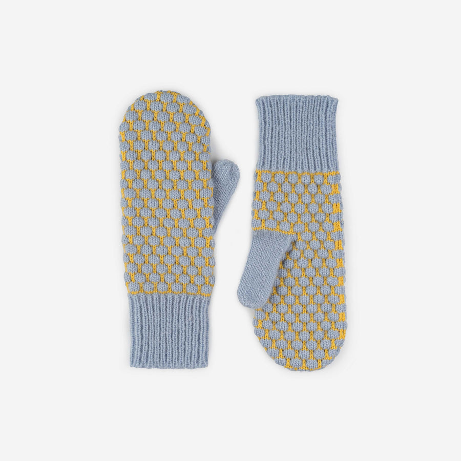 Stone Blue | Quilted Bobble Mittens