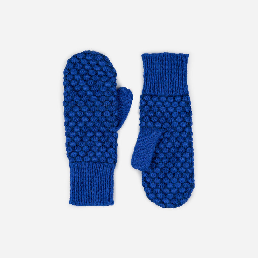 Cobalt | Quilted Bobble Mittens