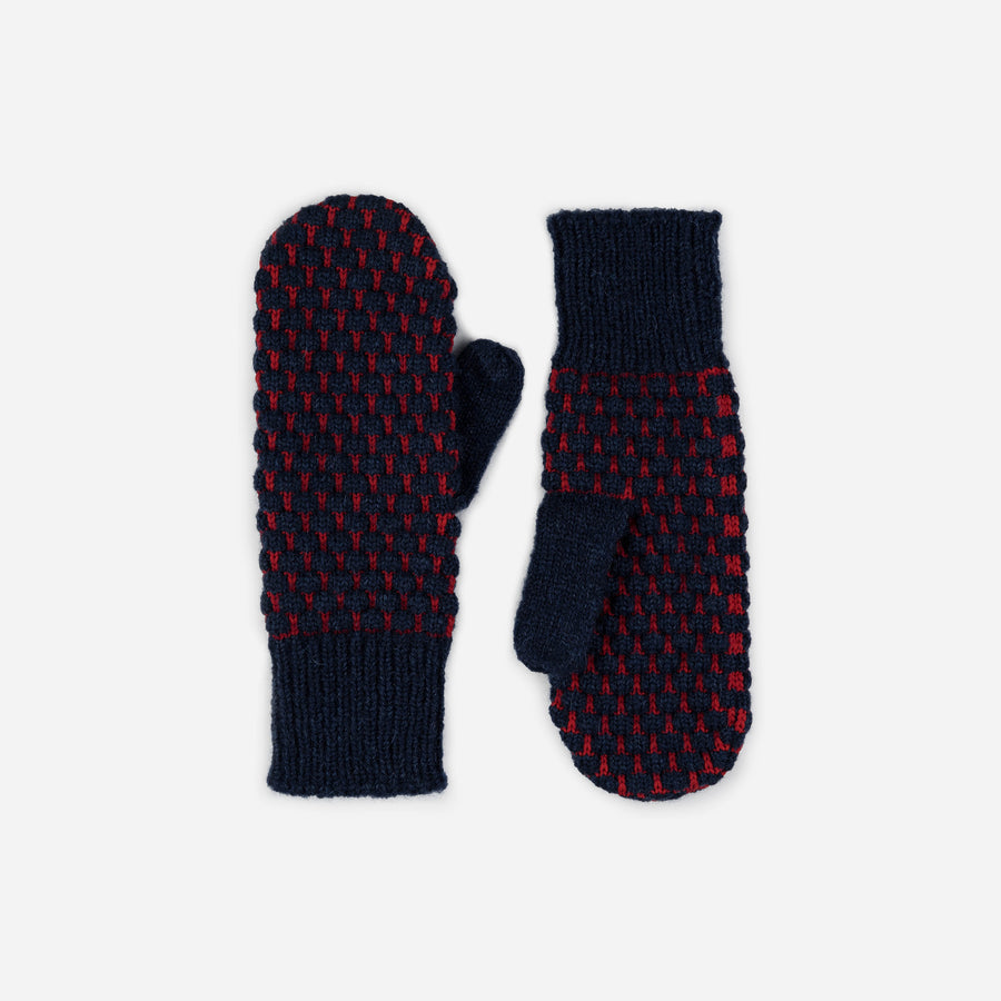Navy | Quilted Bobble Mittens