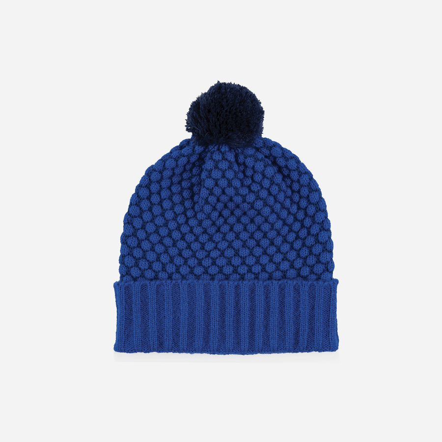 Cobalt | Quilted Bobble Pom Hat