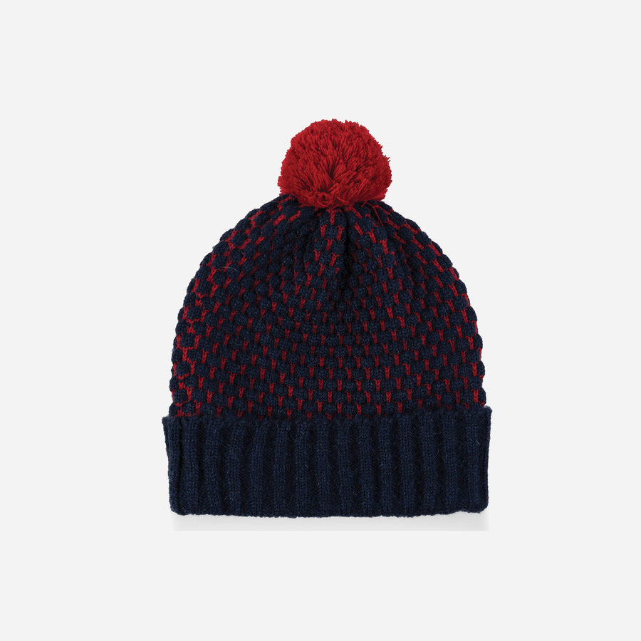 Navy | Quilted Bobble Pom Hat