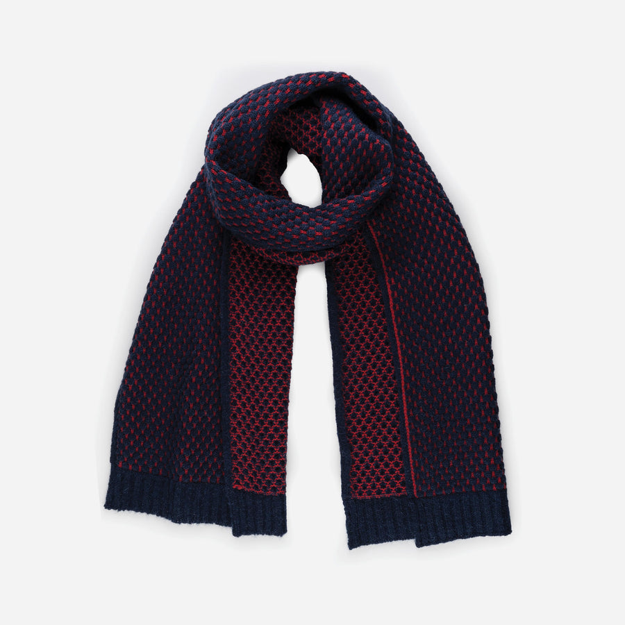 Navy | Quilted Bobble Texture Scarf