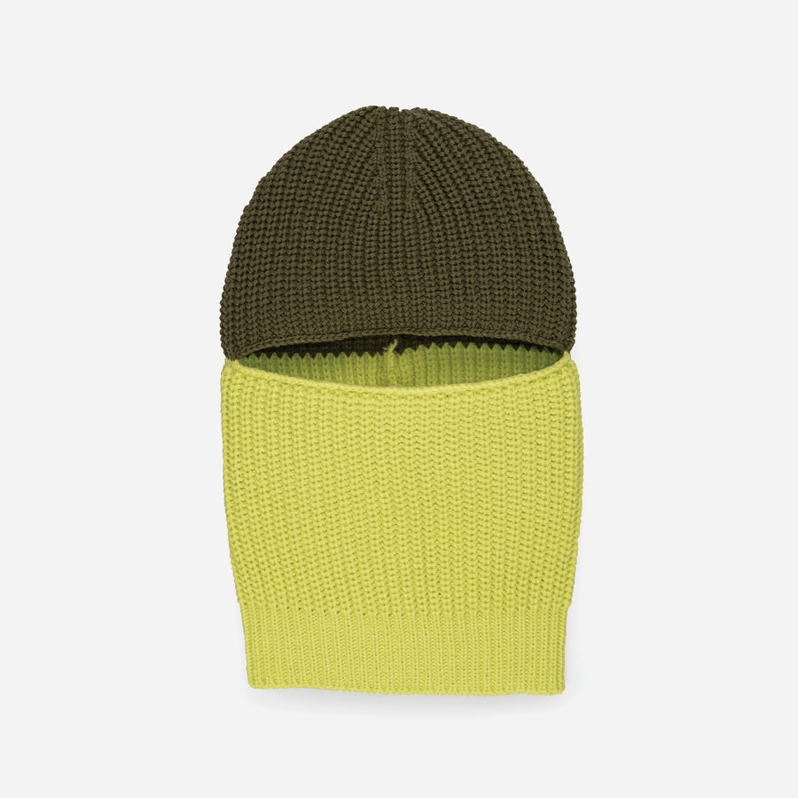 Moss | Soft knit balaclava colorblock gaiter