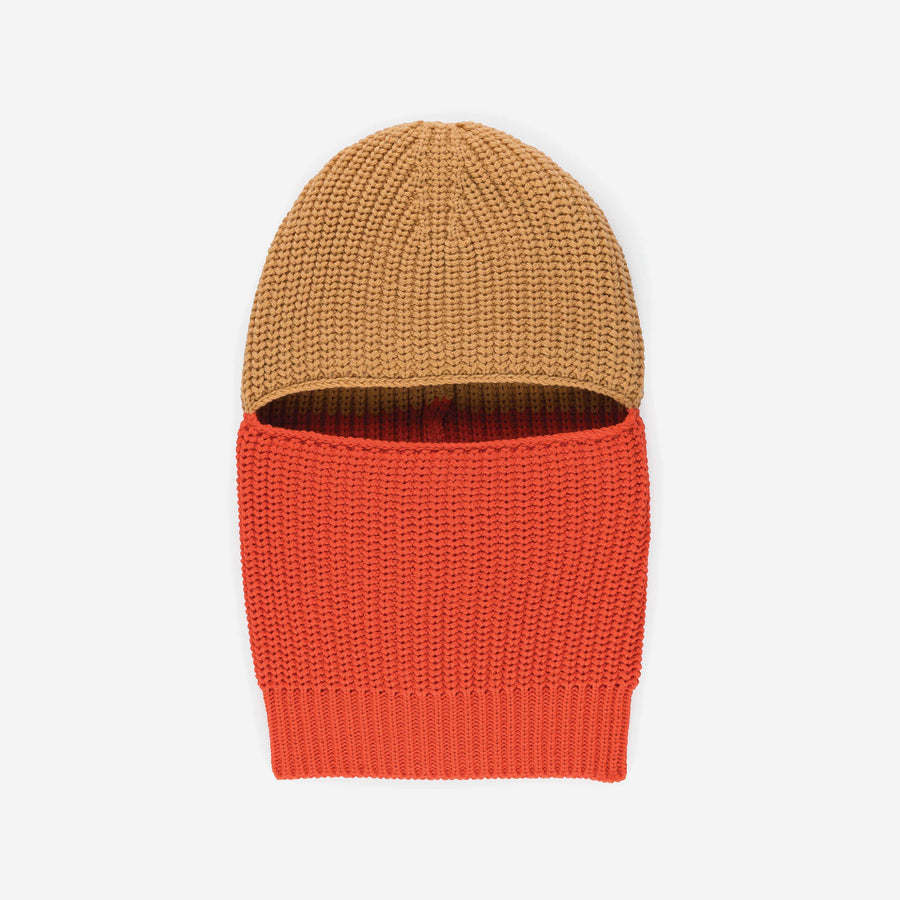Camel | Soft knit balaclava colorblock gaiter