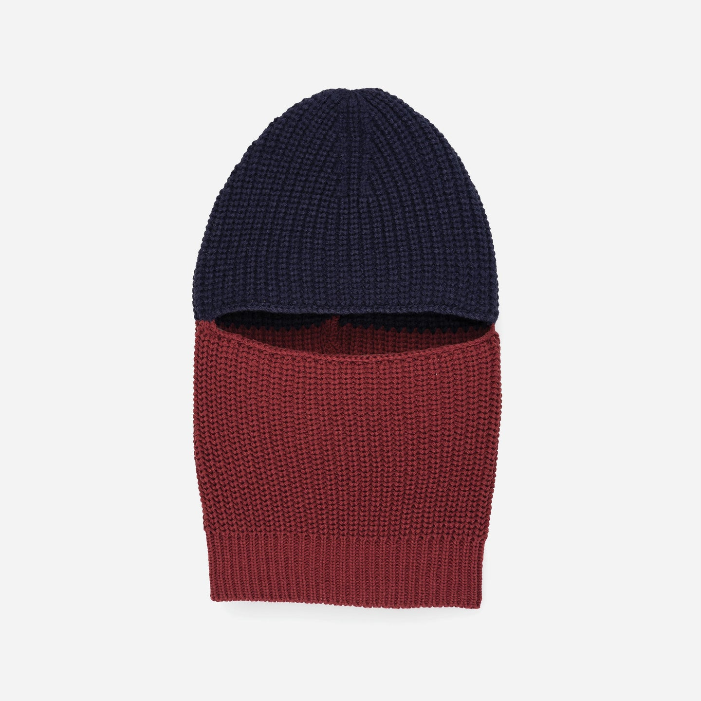 Soft knit balaclava colorblock gaiter