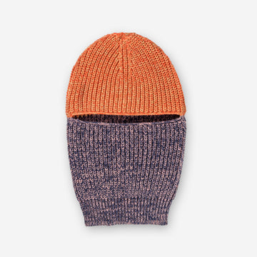 Navy Poppy Marl | Ribbed Balaclava Colorblock Ski Mask