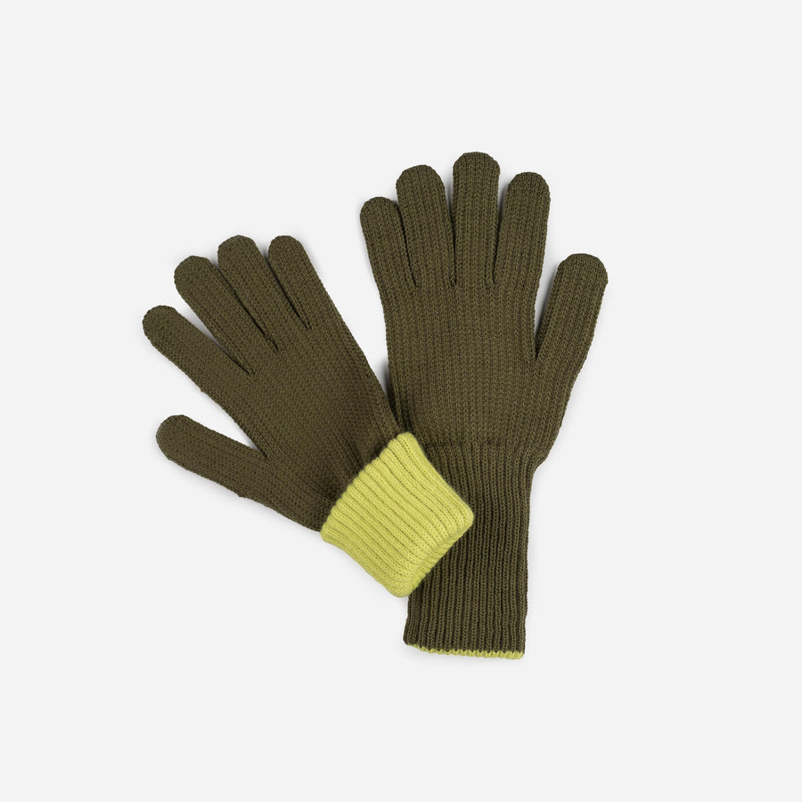 Moss | Ribbed Long Gloves Contrast Color Cuff