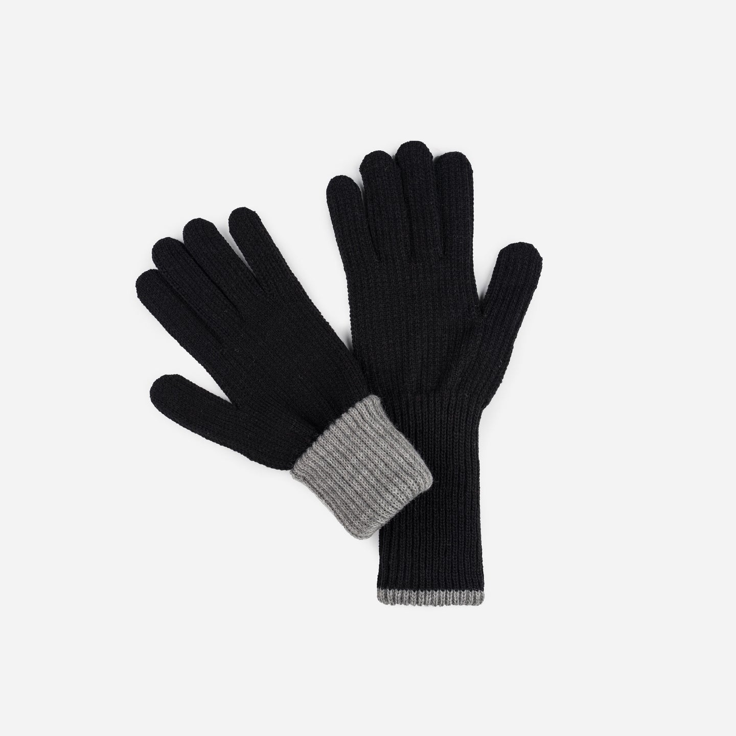 Ribbed Long Gloves Contrast Color Cuff