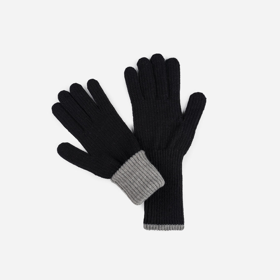 Black Grey | Ribbed Long Gloves Contrast Color Cuff