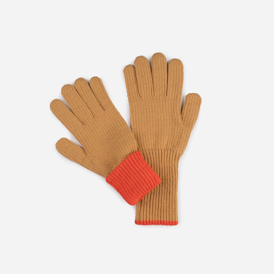 Camel | Ribbed Long Gloves Contrast Color Cuff
