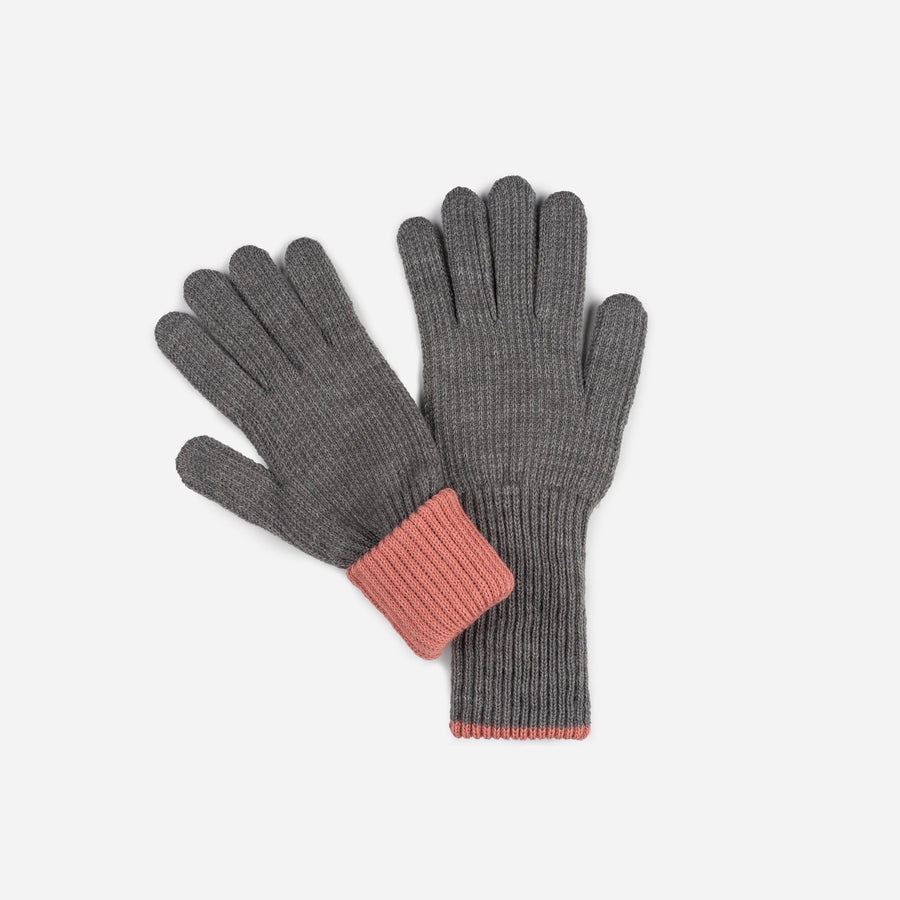 Grey Pink | Ribbed Long Gloves Contrast Color Cuff