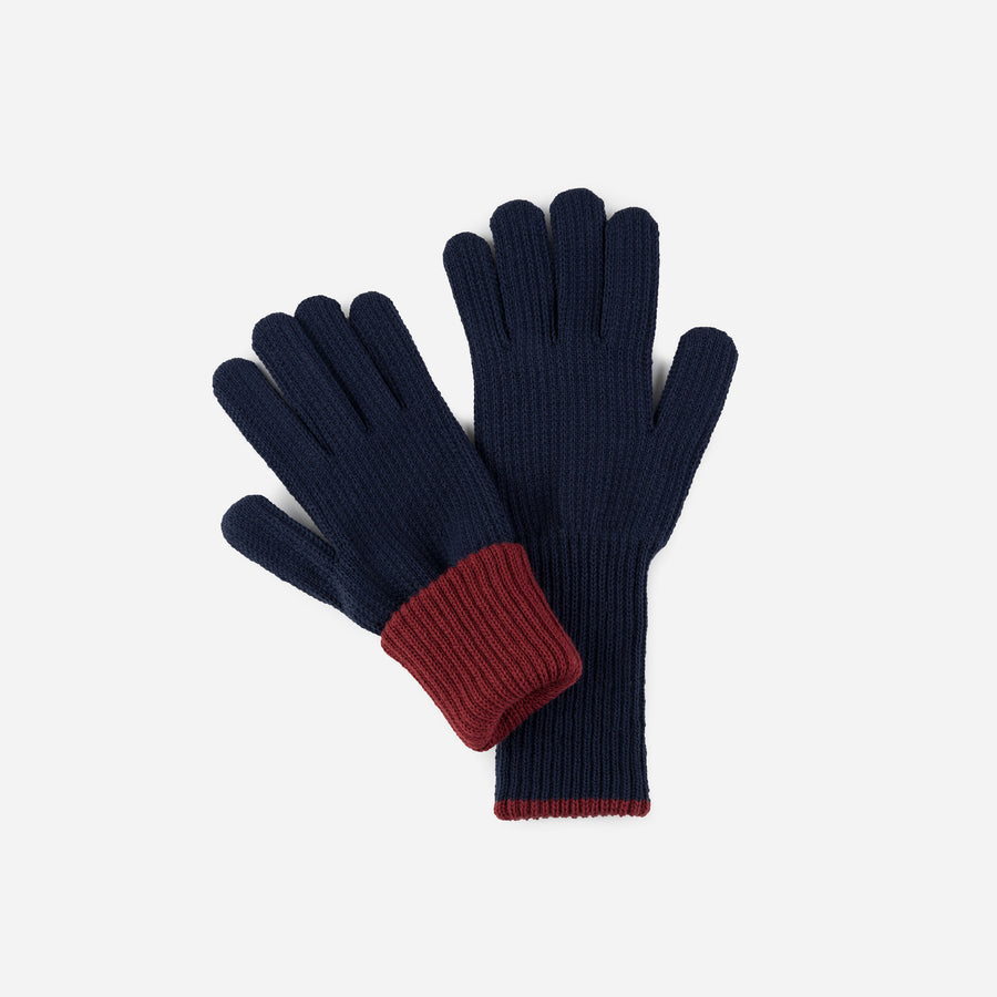 Navy | Ribbed Long Gloves Contrast Color Cuff