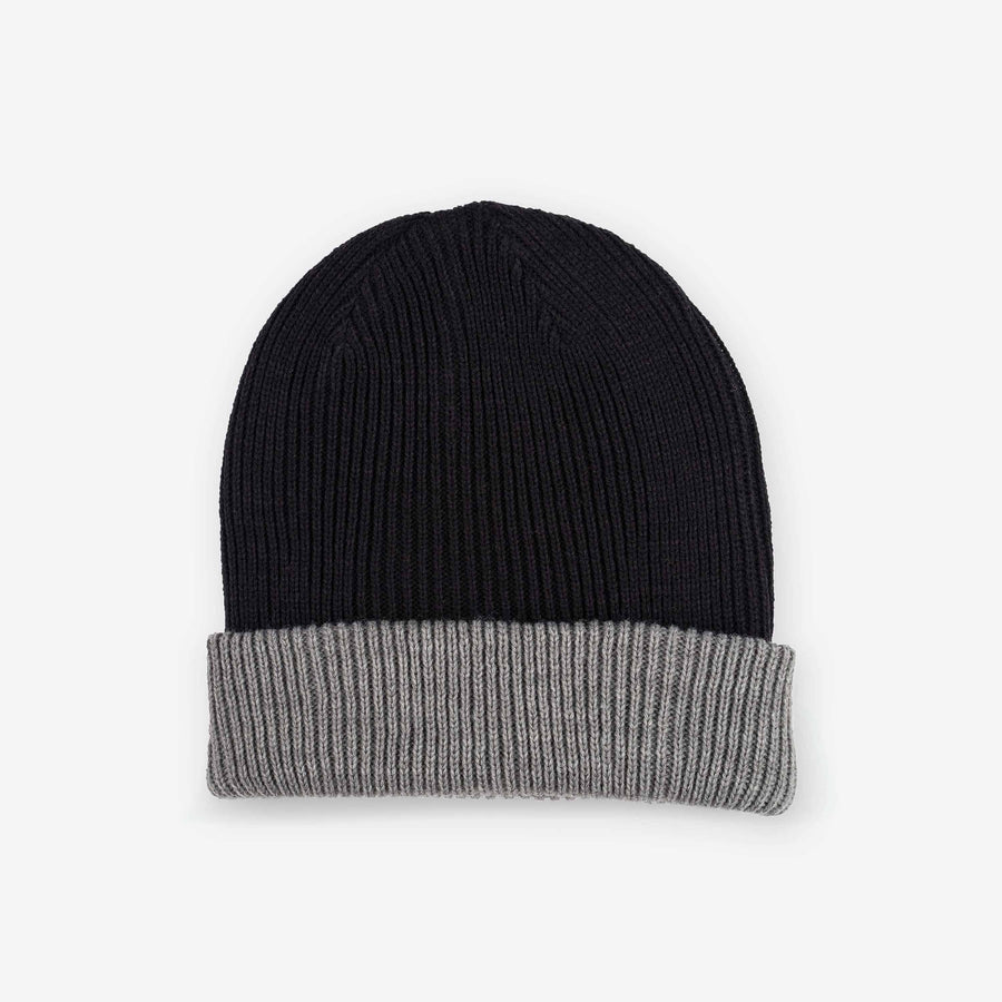 Black Grey | Reversible Rib Knit Cuff Hat Contrast