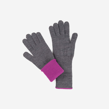 Grey | Ribbed Long Gloves Contrast Color Cuff