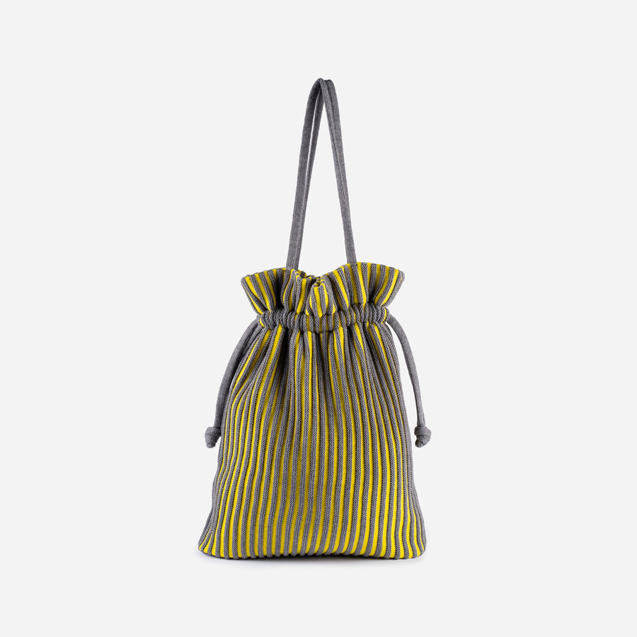 Grey Yellow | Rib Cord Drawstring Tote Knit Multi Color Repurposed
