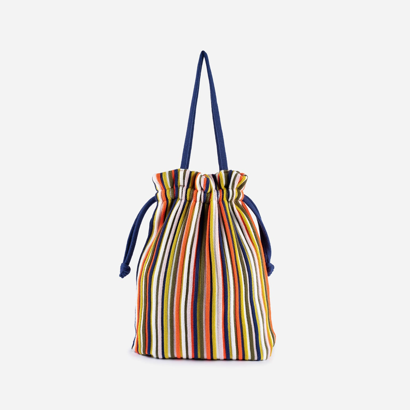 Rib Cord Drawstring Tote Knit Multi Color Repurposed