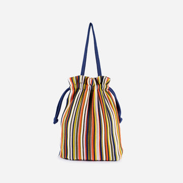 Multi 1 | Rib Cord Drawstring Tote Knit Multi Color Repurposed