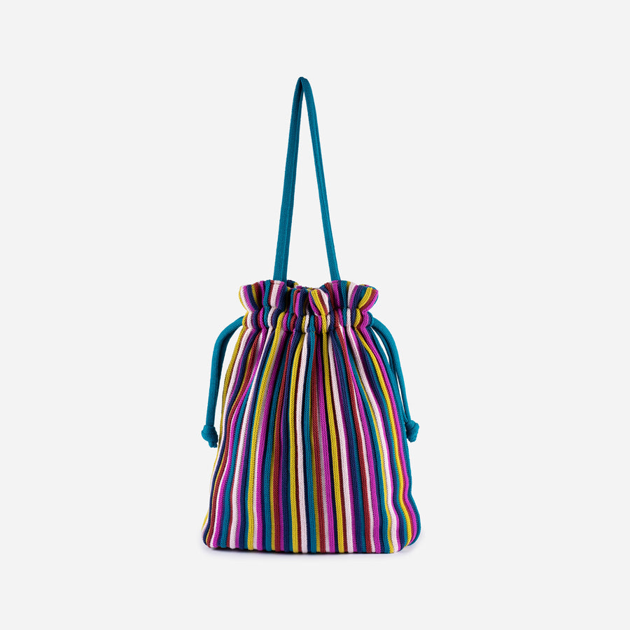 Multi 2 | Rib Cord Drawstring Tote Knit Multi Color Repurposed