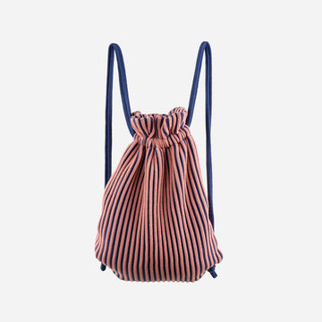 Navy Pink | Rib Drawstring Backpack Stripe